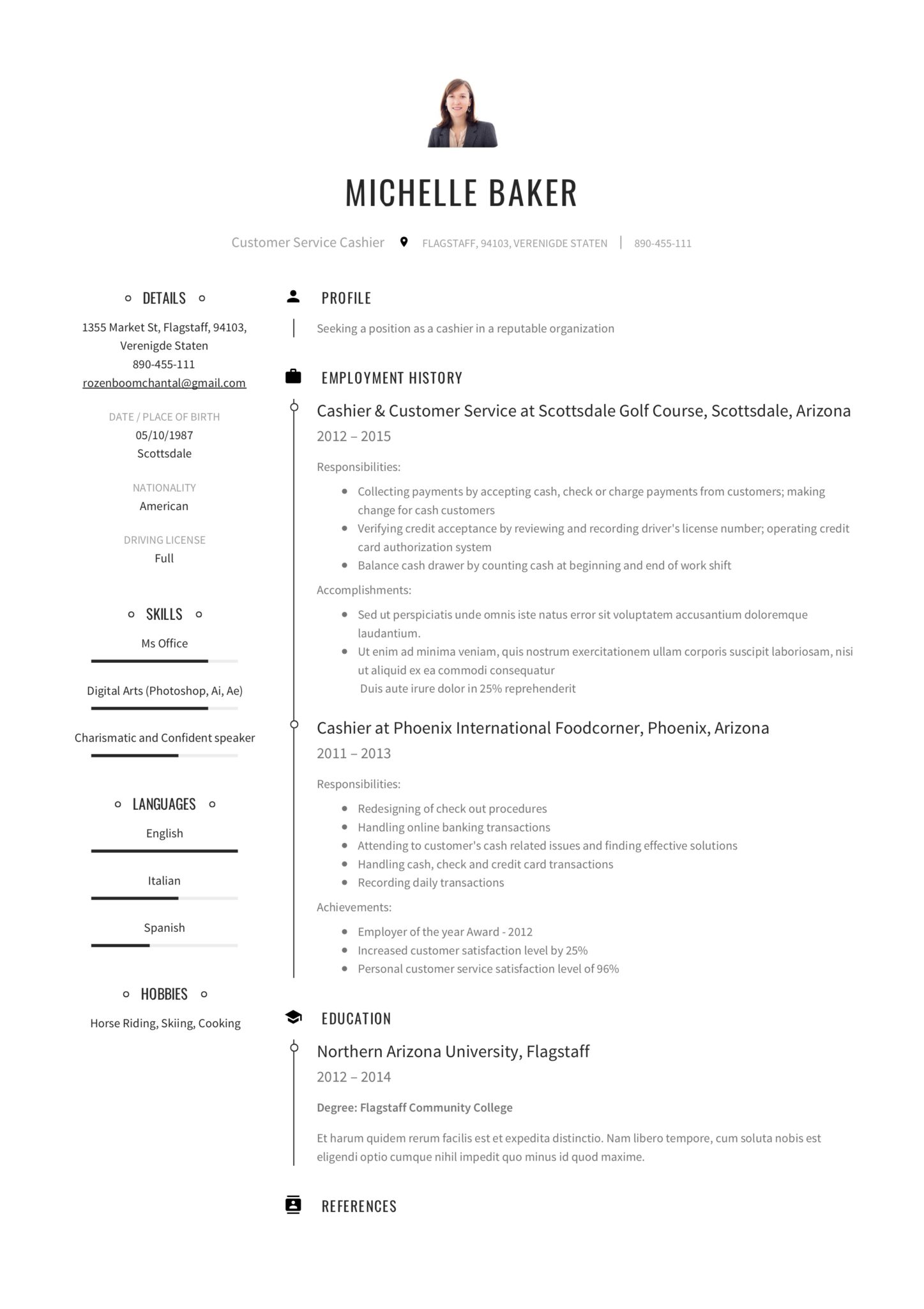 resume examples for cashier objective