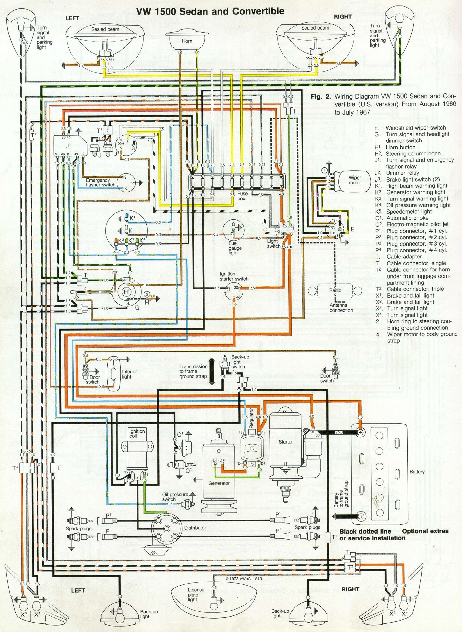 67 Beetle Wiring Diagram – U.S Version | 1967 VW Beetle