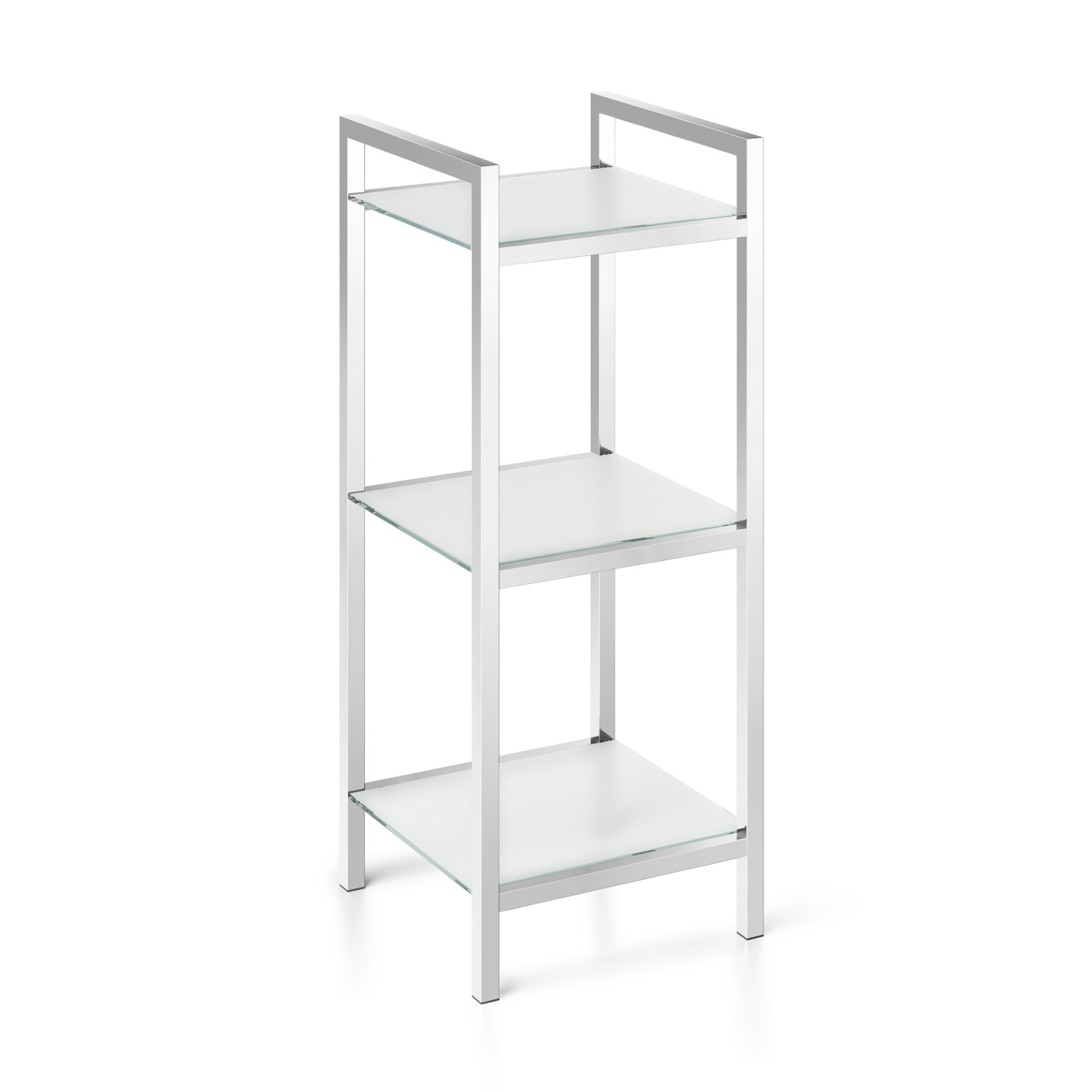 Badregal Glas Zack Bathroom Shelving Cenius Stainless Steel And Tempered Glass With 3 Storage Compartments Polished