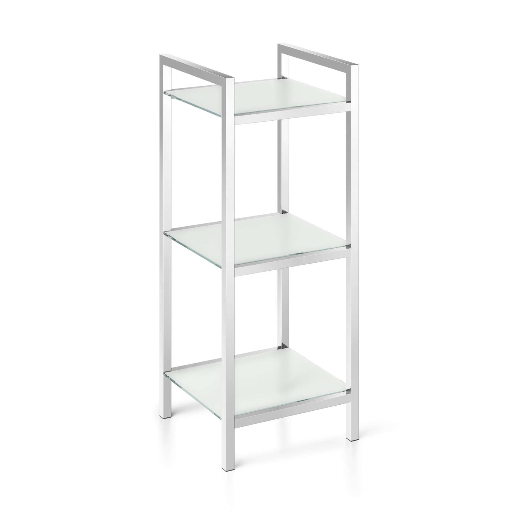 Badregal Mit Glas Zack Bathroom Shelving Cenius Stainless Steel And Tempered Glass With 3 Storage Compartments Polished