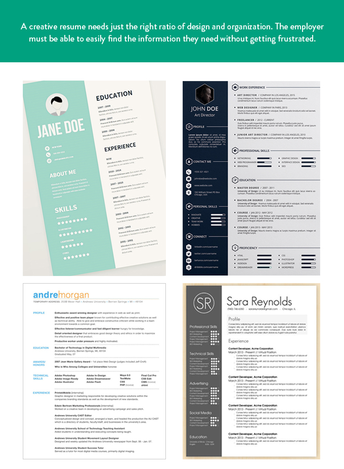 Standard Resume vs Creative Resume Glantz Design