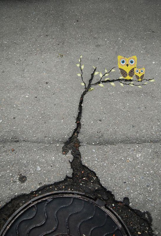 Art in the cracks of the street