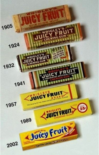 Juicy Fruit from 1905 to 2002.