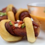 hot dogs wrapped in bacon and pretzel