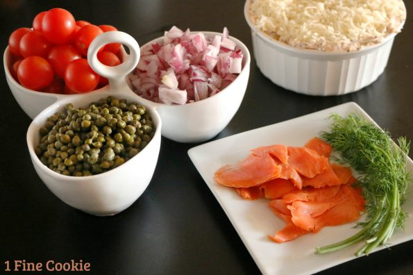 everything bagel dip, salmon, passover, hanukkah, chanukah, chanukkah, recipe, appetizer, easy, baked, kosher, food, jewish, new york, lox, smoked, cream cheese, video, quick, salmon dip hot ingredients