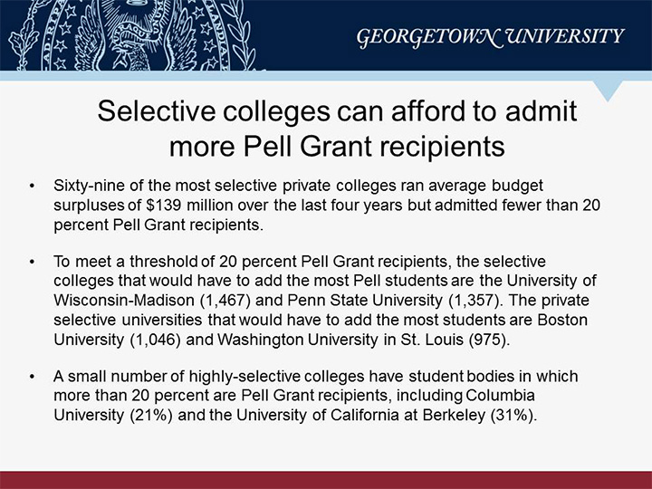 The 20 Solution Selective Colleges Can Afford to Admit More Pell
