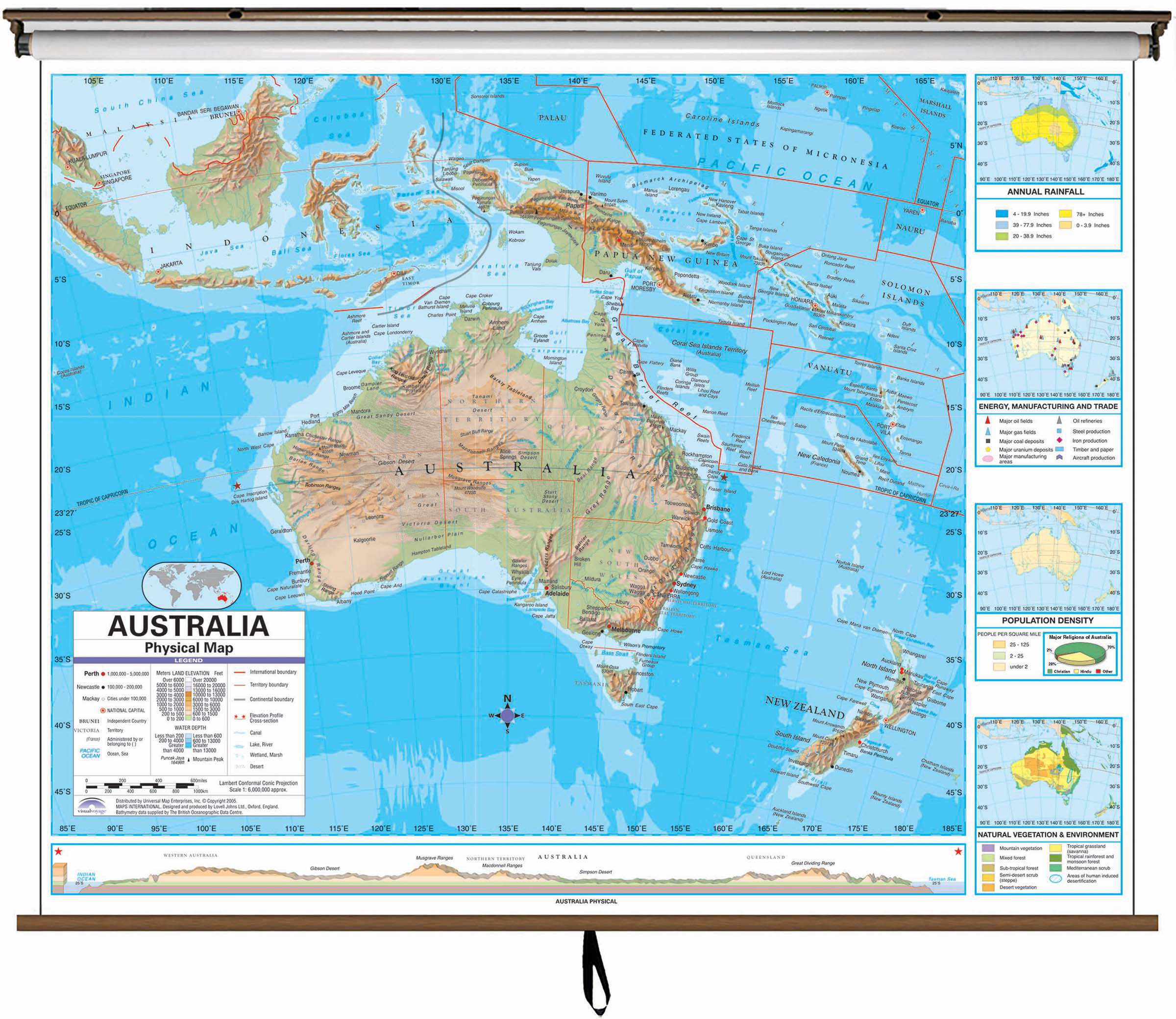 Roller Australia Australia Advanced Physical Classroom Wall Map On Roller W Backboard