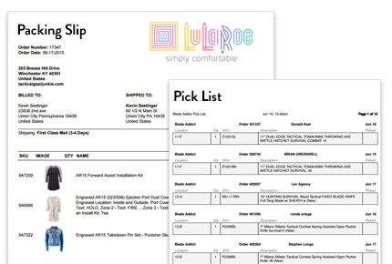 LuLaRoe Shipping Software BLESS integration from ShippingEasy - packing slips for shipping