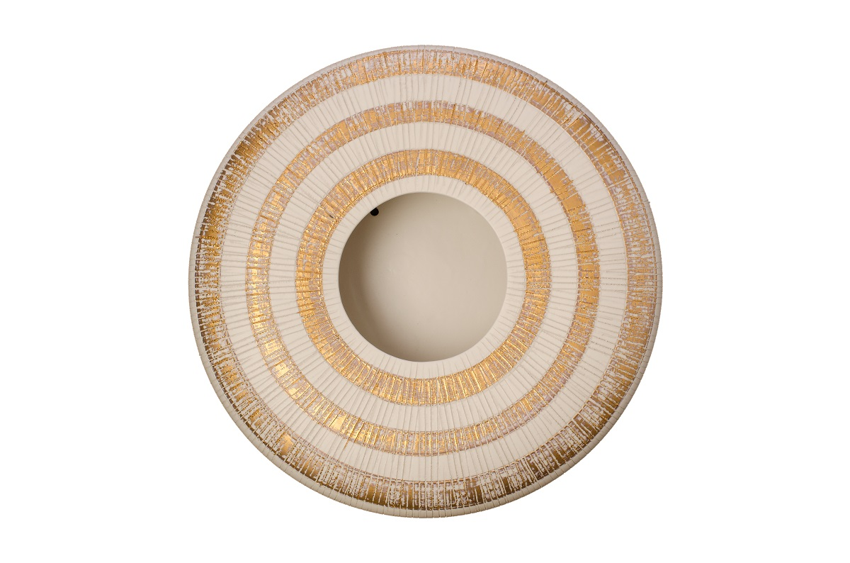 Decorative Ceiling Discs Wall Disc White With Gold Stripes