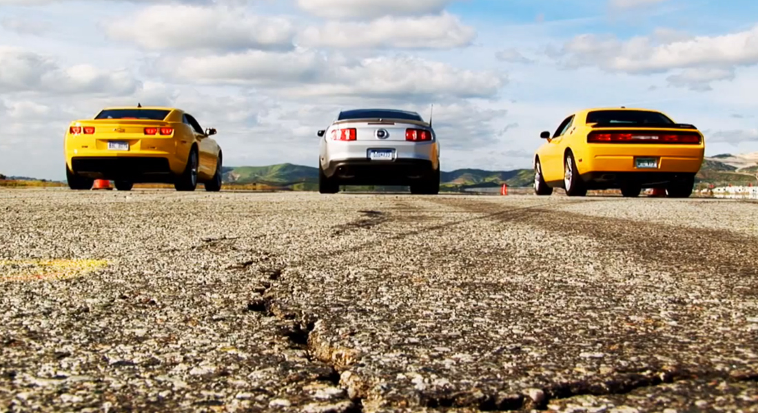 3 Way Showdown Mustang GT, Camaro SS and Charger SRT-8 \u2013 America