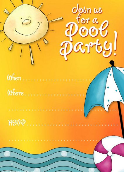 Free printable pool party invite template- #PoolParty #Freebie - A - free party invitation templates