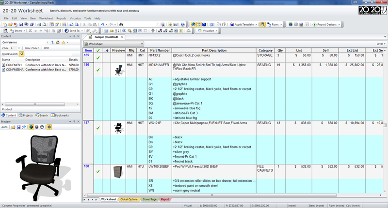 Furniture Specification Software 2020 Worksheet 2020 Spaces