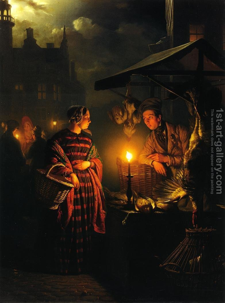Candle Light Painting Market Place By Candlelight Painting By Petrus Van Schendel