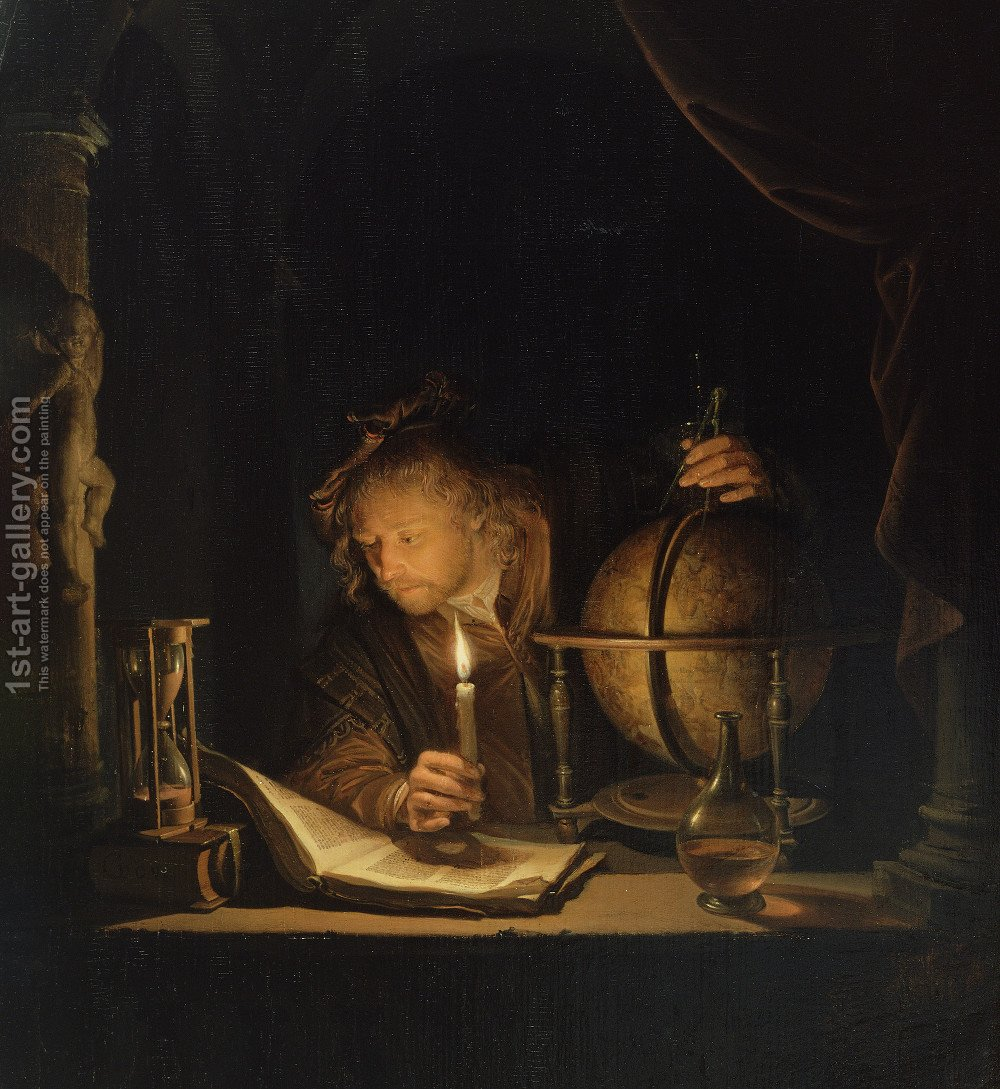 Candle Light Painting The Astronomer By Candlelight Painting By Gerrit Dou Reproduction