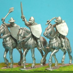 Mounted Knights, sword arm raised unbarded horses III.