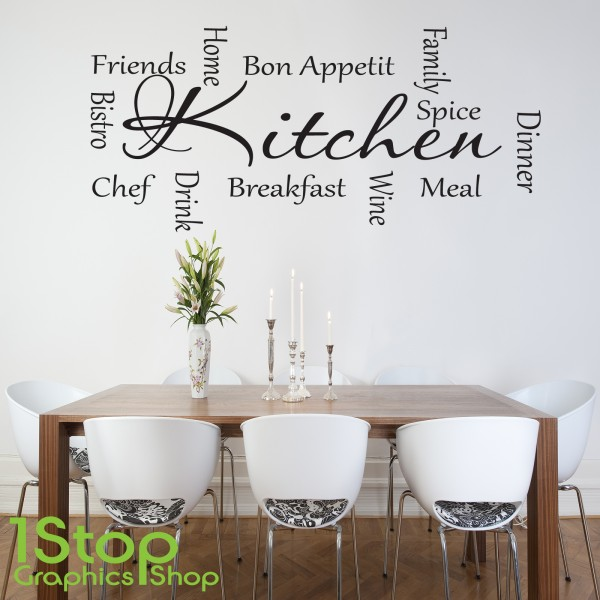 kitchen words wall sticker quote love kitchen home wall art decal personalised kitchen wall sticker decals
