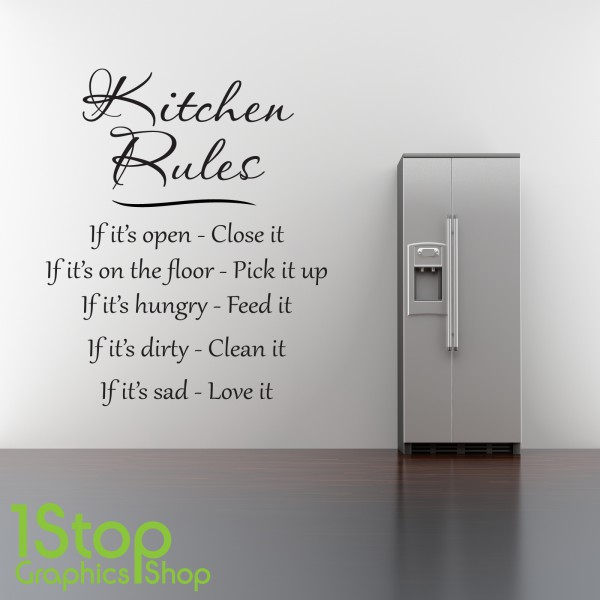 kitchen rules wall sticker quote heart home love wall art personalised kitchen wall sticker decals