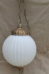 1960s vintage swag lamp, Hollywood regency gold & white ...