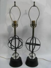 50s vintage atomic table lamps, mid-century modern metal w ...