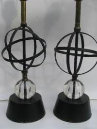 50s vintage atomic table lamps, mid-century modern metal w ...