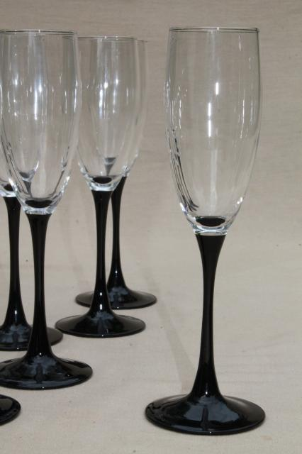 Retro Vintage Lighting Cristal D'arques Black Stem Crystal Champagne Flutes, Set