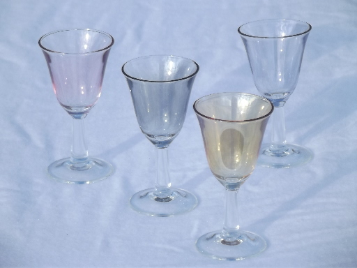 Retro Vintage Lighting Colored Luster Tulip Shape Cordial Glasses, Vintage Glass