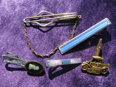 Huge Lot Of Vintage Tie Clips Tie Tacks Tie Pins