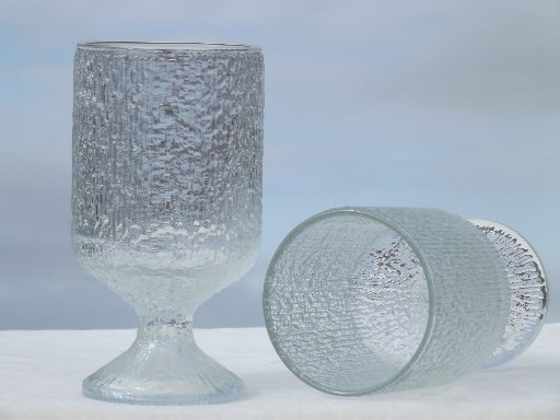 Retro Vintage Lighting Indiana Crystal Ice Textured Glass Drinking Glasses, Water