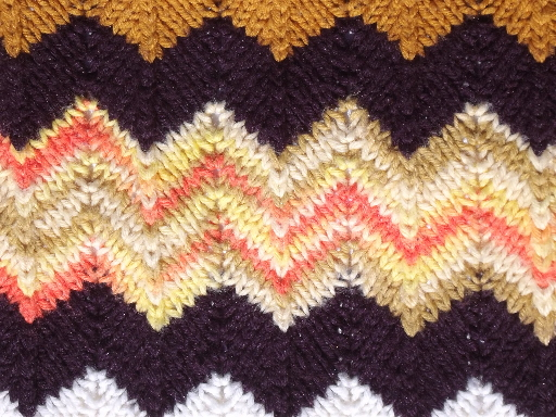 Retro Vintage Lighting Retro 70s Vintage Crochet Afghan Throw Blanket, Autumn