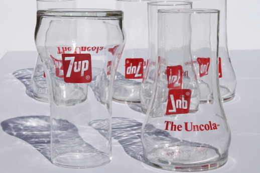 Retro Vintage Lighting Vintage 7-up Glasses, Retro Upside Down 7-up The Uncola