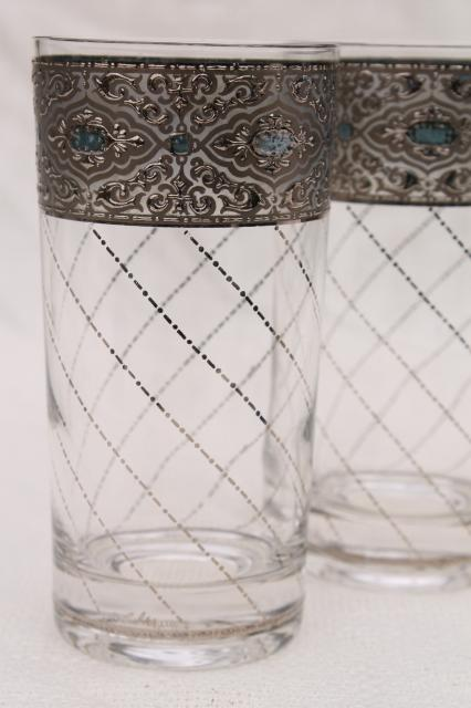Retro Vintage Lighting Vintage Culver Glass Tumblers, Drinking Glasses W/ Lattice