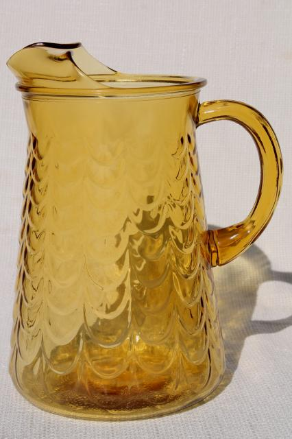 vintage amber glass pitcher libbey drape pattern fishscale textured glass
