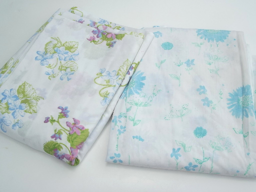Vintage Bed Sheets Lot 60s 70s 80s Flower Print Fabric In