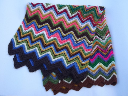Retro Vintage Lighting Vintage Crochet Afghan Blanket, Chevron Stripes In Crazy