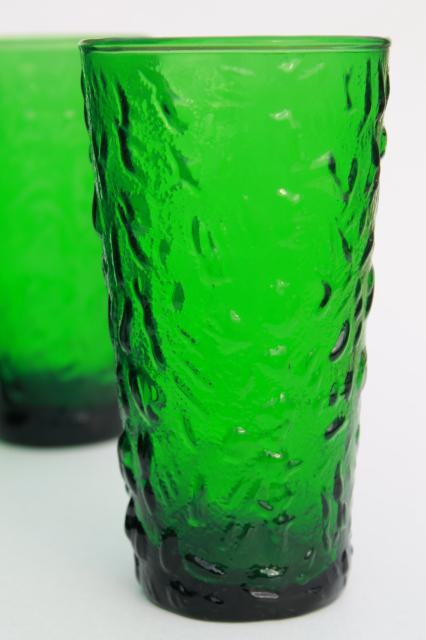 Retro Vintage Lighting Vintage Forest Green Glass Tumblers, Anchor Hocking Milano