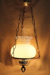 Vintage hanging light w/ hurricane chimney & milk glass ...