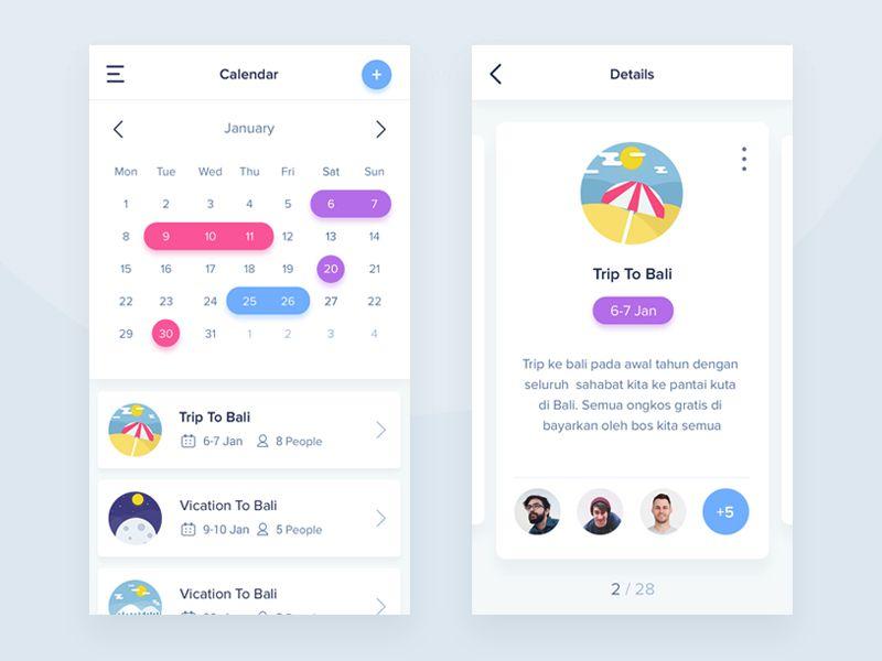 Stunning Examples of Calendar Mobile App Design - 1stWebDesigner