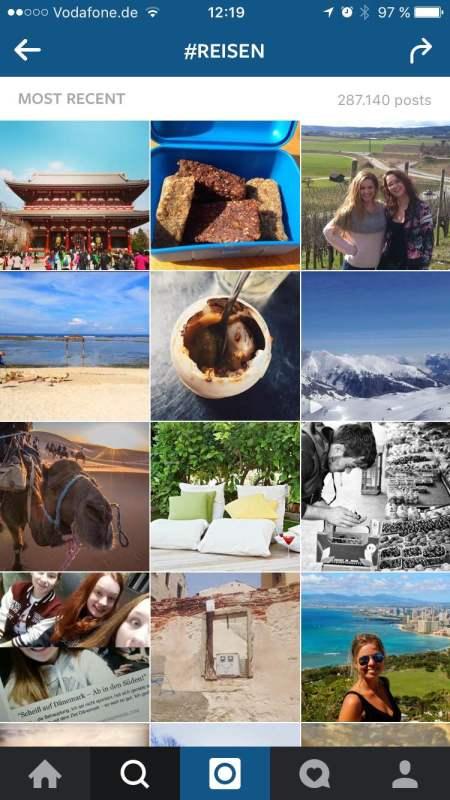 Gehe auf andere Instagram-User zu – mit Hilfe der Hashtag-Suche, hier am Beispiel #reisen.