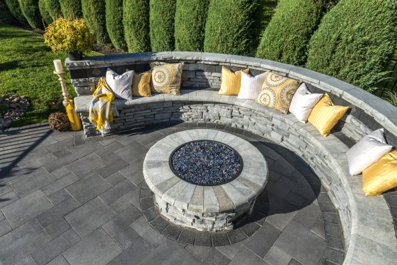 Umbriano Patio And Rivercrest Fire Pit And Seat Wall Photos