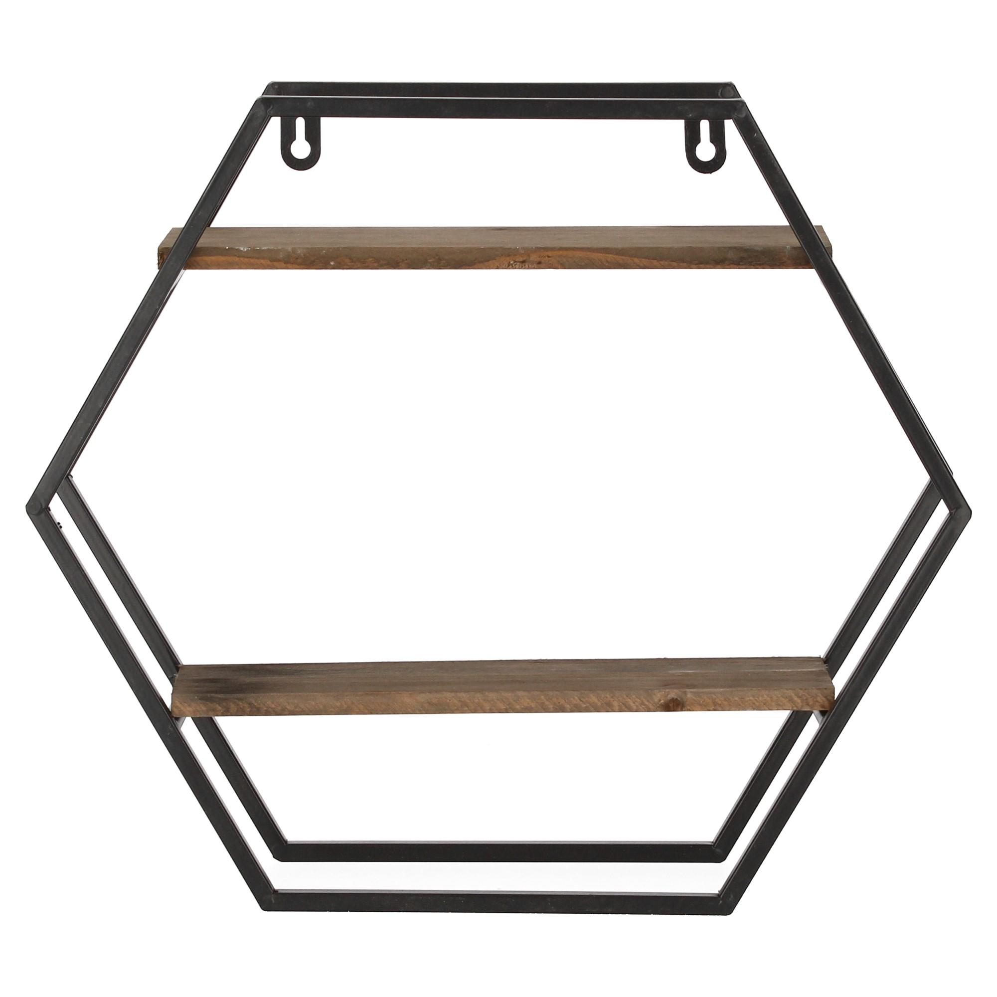 Wandregal Amazon Dijk Natural Collection Wandregal Metall Holz Hexagon