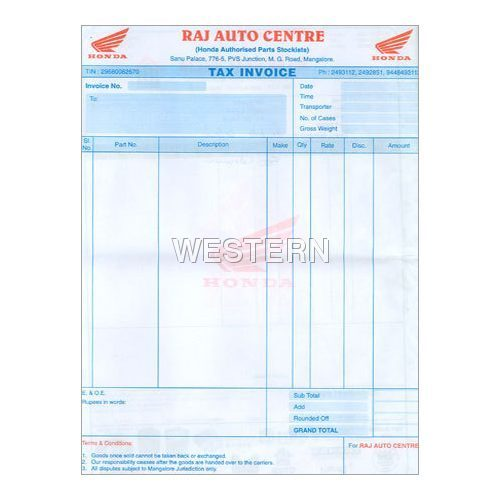 Tax Invoice Double Colour Western Data Forms Manufacturer in