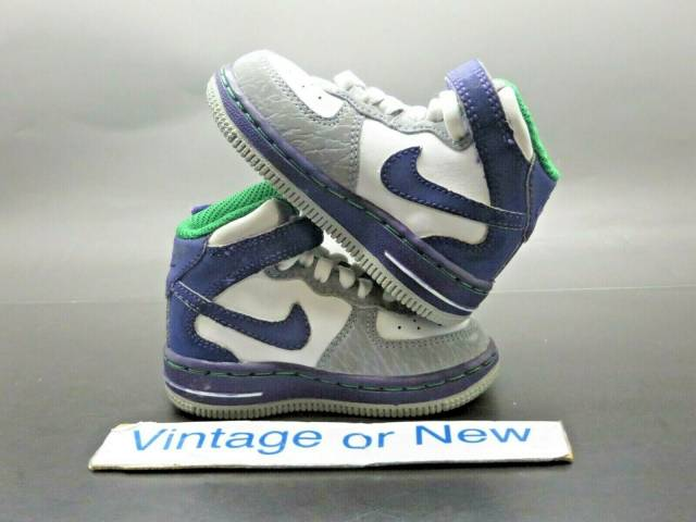 Toddler 4 Years Old Shoe Size Nike Air Force 1 Mid White Purple Green 2010 Td Toddler