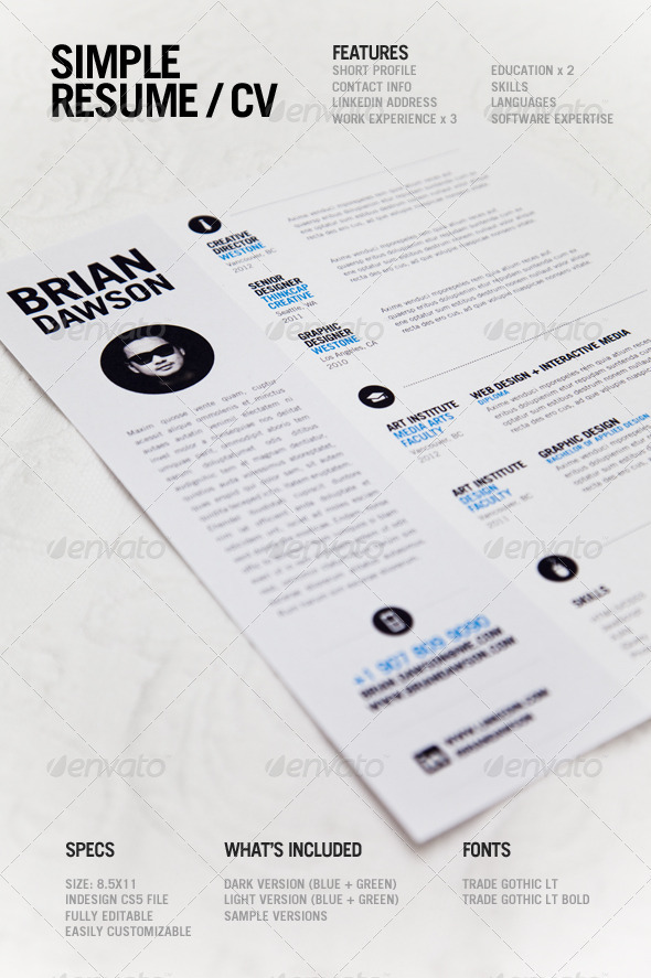 Free Indesign Templates 82 Indesign Files To Download Print Template Graphicriver Simple Resume 3118476