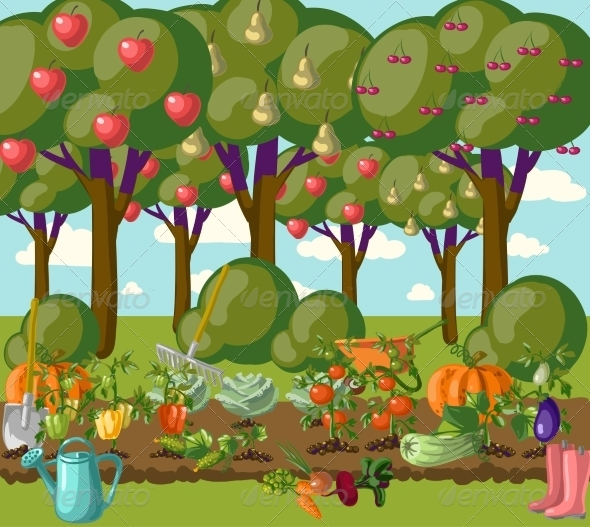 Cartoon garden background 187 tinkytyler org stock photos