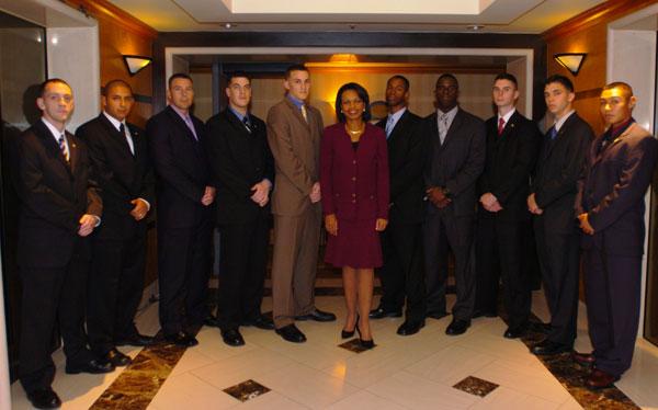 Photo Secretary Rice With Marine Security Guards