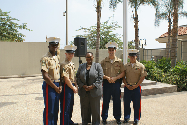 Photo Assistant Secretary Frazer With the US Marine Security