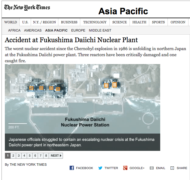 NY Times coverage of the nuclear disaster