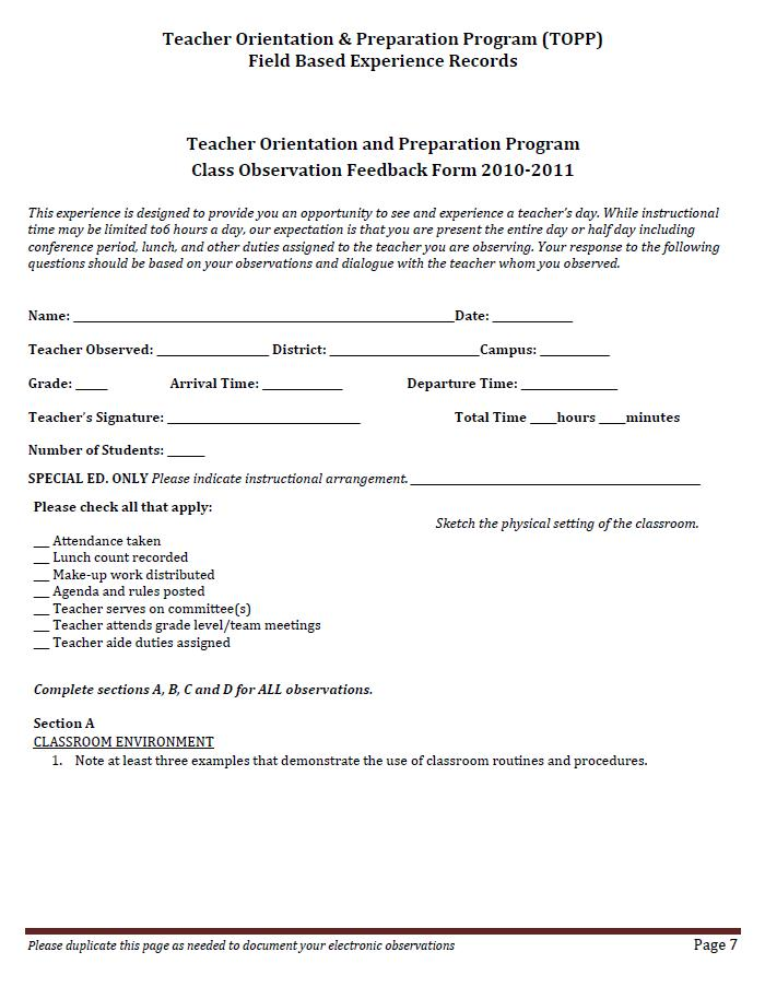 Observation Feedback Form - Resume Template Ideas - observation feedback form