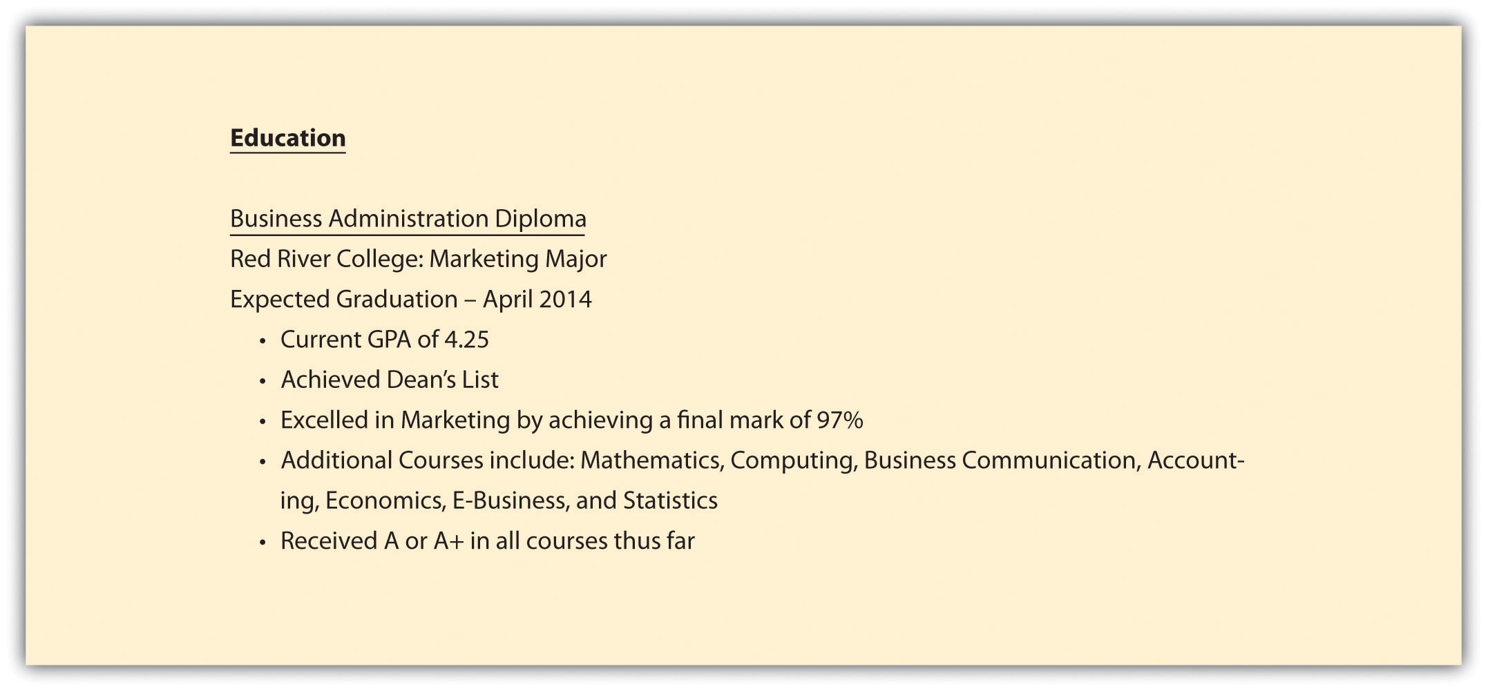 resume list high school