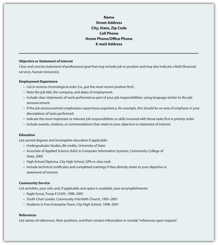 chronological and functional resume